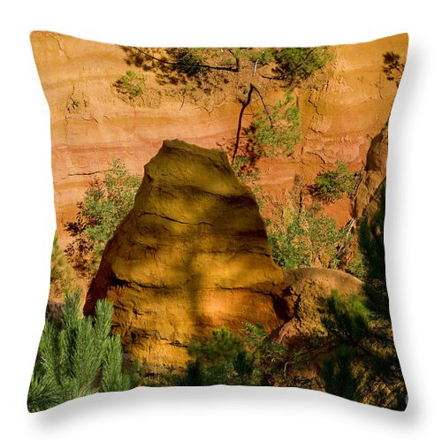Roussillon France Provence Clay Mine Mines Ochre Pigment Pigments Landscape Landscapes Throw Pillow featuring the photograph Color Pit by Bob Phillips
