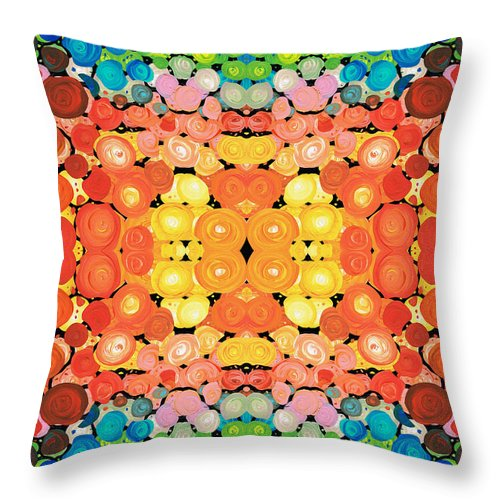 Dimension Throw Pillow featuring the painting Color Revival - Abstract Art By Sharon Cummings by Sharon Cummings