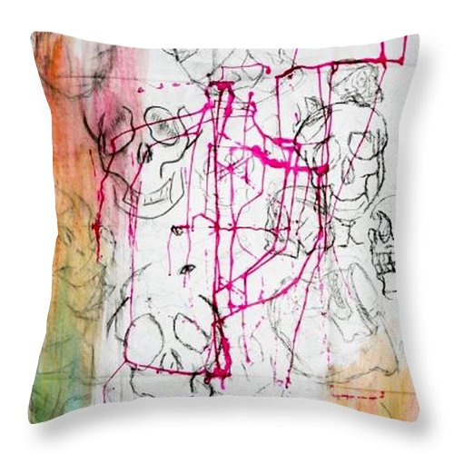 Skulls Throw Pillow featuring the mixed media Color Skull by Simonne Mina