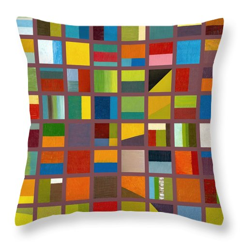 Abstract Throw Pillow featuring the painting Color Study Collage 65 by Michelle Calkins