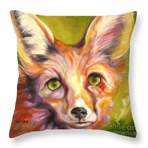 Oil Painting Throw Pillow featuring the painting Colorado Fox by Susan A Becker