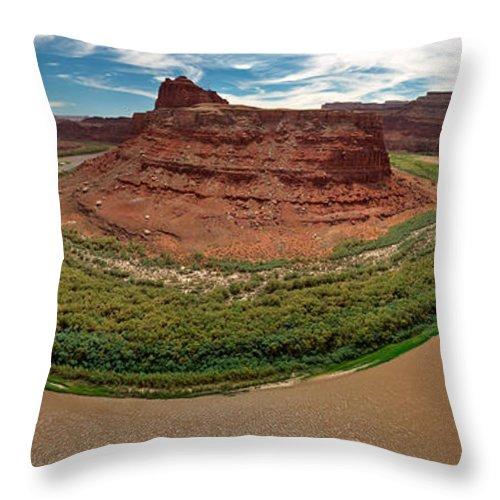 3scape Photos Throw Pillow featuring the photograph Colorado River Gooseneck by Adam Romanowicz