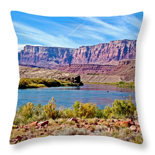 Colorado River Upstream From Boat Ramp At Lee's Ferry In Glen Canyon National Recreation Area Throw Pillow featuring the photograph Colorado River Upstream From Boat Ramp At Lee's Ferry In Glen Canyon National Recreation Area-az by Ruth Hager