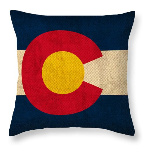 Colorado State Flag Art On Worn Canvas Throw Pillow featuring the mixed media Colorado State Flag Art On Worn Canvas by Design Turnpike