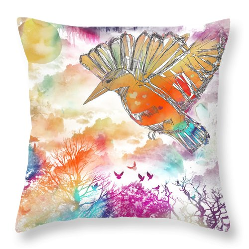 Colored Bird Throw Pillow featuring the digital art Colored Bird by Justyna JBJart