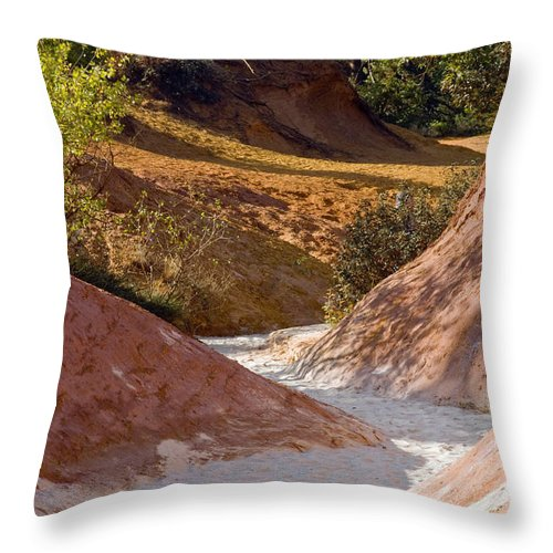 Le Colorado Ochre Rustrel France Colored Clay Landscape Landscapes Tree Trees Plant Plants Provence Throw Pillow featuring the photograph Colored Pathway by Bob Phillips