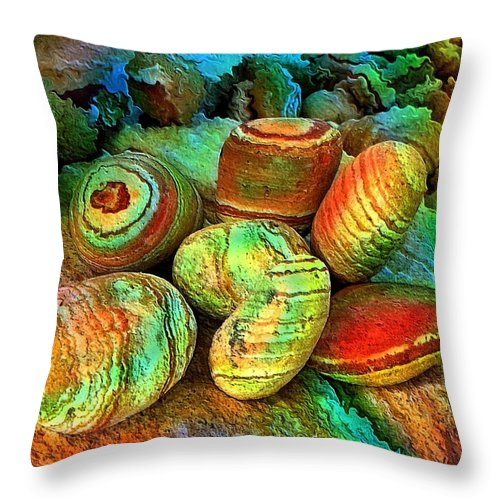 Contemporary Throw Pillow featuring the painting Colored Stones By Rafi Talby  by Rafi Talby
