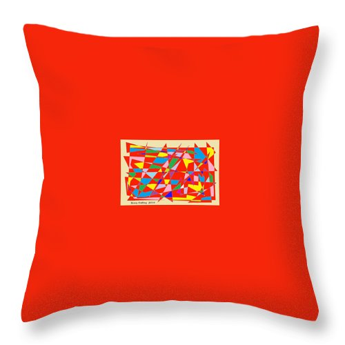 Red Throw Pillow featuring the painting Colored Triangles by Bruce Nutting