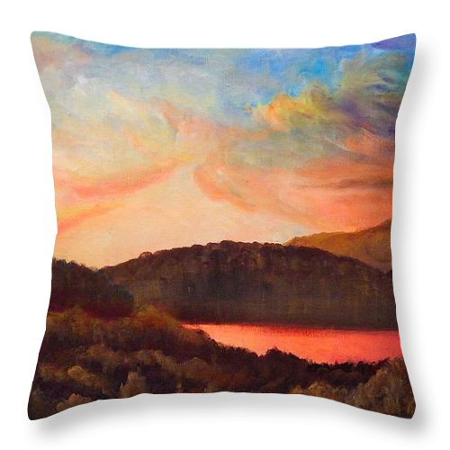 Colorful Throw Pillow featuring the painting Colorful Autumn Sunset by Lilia D