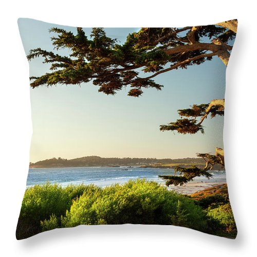 Scenics Throw Pillow featuring the photograph Colorful Beachfront In Carmel-by-the-sea by Pgiam