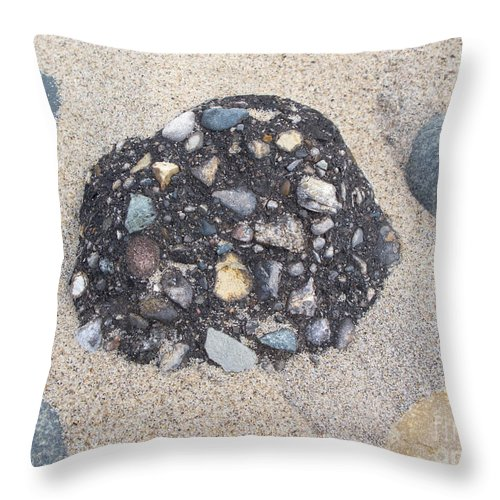 Stone Throw Pillow featuring the photograph Colorful Conglomerate by Ann Horn