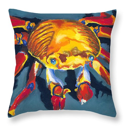 Crab Throw Pillow featuring the painting Colorful Crab by Stephen Anderson