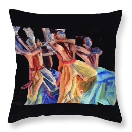 Dancers Throw Pillow featuring the painting Colorful Dancers by Katherine Berlin
