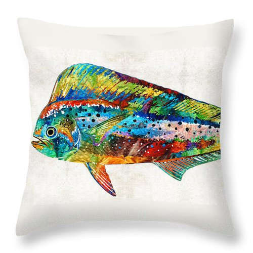 Colorful Dolphin Fish By Sharon Cummings Throw Pillow For Sale By Sharon Cummings