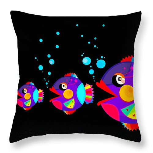 Decoration Throw Pillow featuring the digital art Colorful Fish Creation by Don Kuing