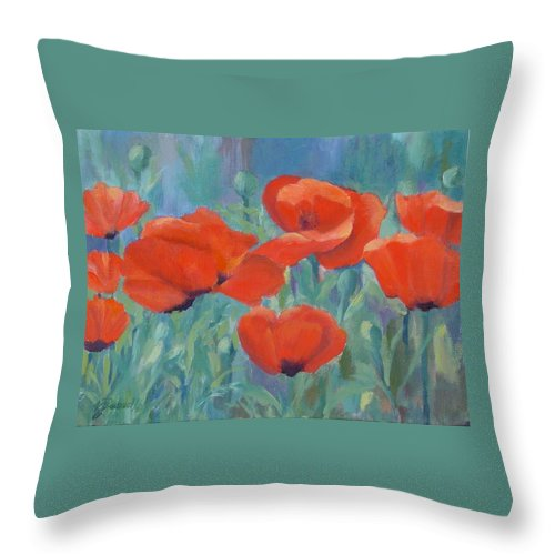 Red Poppies Throw Pillow featuring the painting Colorful Flowers Red Poppies Beautiful Floral Art by K Joann Russell