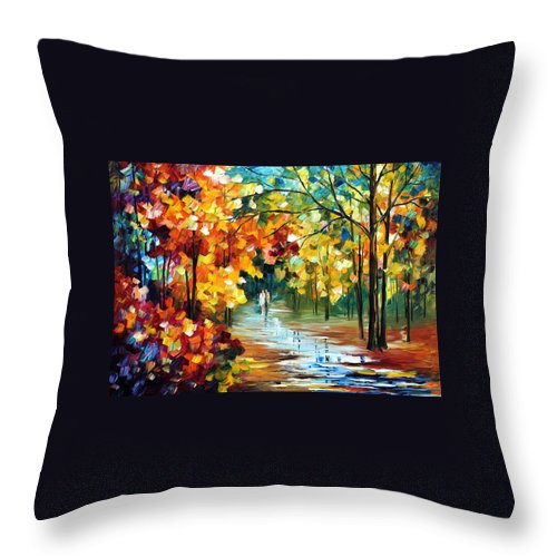 Oil Paintings Throw Pillow featuring the painting Colorful Forest - Palette Knife Oil Painting On Canvas By Leonid Afremov by Leonid Afremov