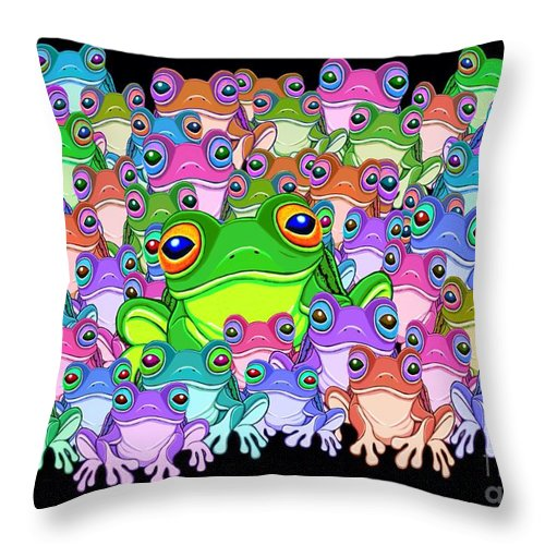 Frogs Throw Pillow featuring the painting Colorful Froggy Family by Nick Gustafson