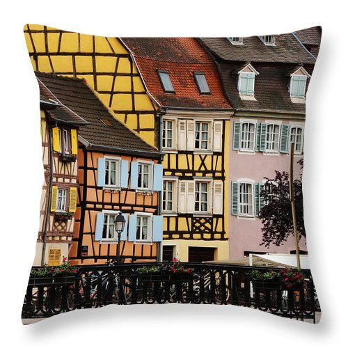 Colorful Homes Throw Pillow featuring the photograph Colorful Homes Of La Petite Venise In Colmar France by Greg Matchick