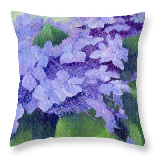 Hydrangeas Painting Throw Pillow featuring the painting Colorful Hydrangeas Original Purple Floral Art Painting Garden Flower Floral Artist K. Joann Russell by K Joann Russell
