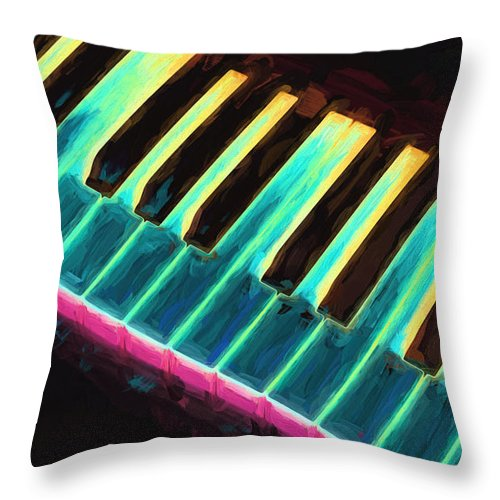 Piano Throw Pillow featuring the painting Colorful Keys by Bob Orsillo