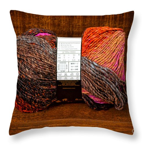 Knitting Throw Pillow featuring the photograph Colorful Knitting Yarn In A Wooden Box by Les Palenik