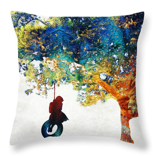 Tree Throw Pillow featuring the painting Colorful Landscape Art - The Dreaming Tree - By Sharon Cummings by Sharon Cummings