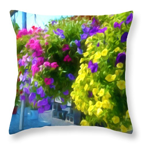 Colorful Large Hanging Flower Plants Throw Pillow featuring the painting Colorful Large Hanging Flower Plants 1 by Jeelan Clark