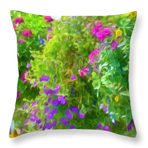 Colorful Large Hanging Flower Plants Throw Pillow featuring the painting Colorful Large Hanging Flower Plants 3 by Jeelan Clark