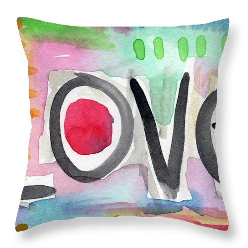 Love Throw Pillow featuring the painting Colorful Love- Painting by Linda Woods
