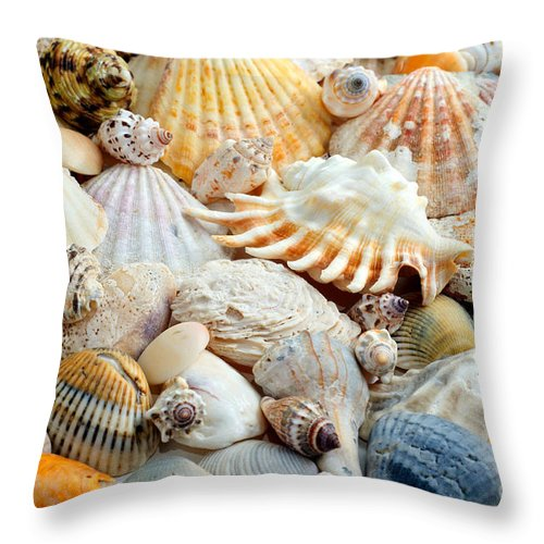Seashell Throw Pillow featuring the photograph Colorful Ocean Seashells 2 by Andee Design
