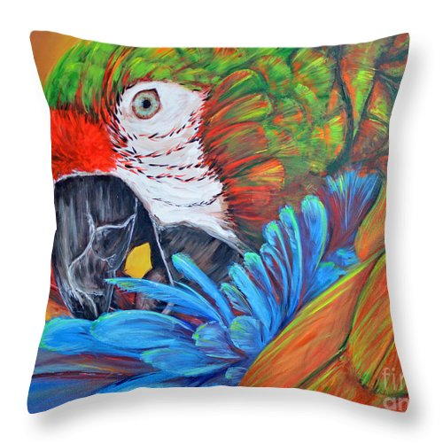 Parrot Throw Pillow featuring the painting Colorful Parrot by Paola Correa de Albury