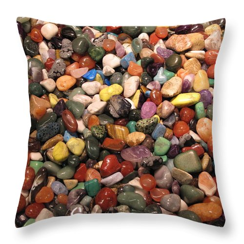 Stones Throw Pillow featuring the photograph Colorful Polished Stones by Barbara McDevitt