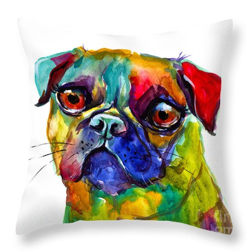 Pug Throw Pillow featuring the painting Colorful Pug Dog Painting by Svetlana Novikova