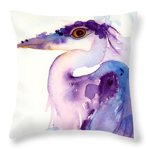 Great Blue Heron Throw Pillow featuring the painting Colorful Reflection by Dawn Derman