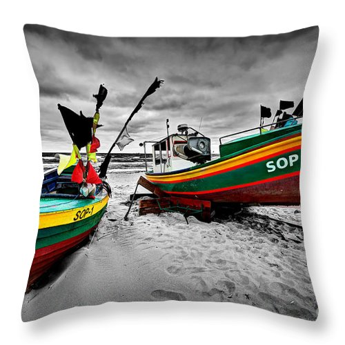 Boat Throw Pillow featuring the photograph Colorful Retro Ship Boats On The Beach by Michal Bednarek