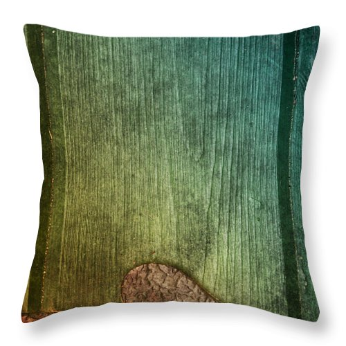Wood Throw Pillow featuring the photograph Colorful Rusted Metal Heart Wood Door Hinge by Birgit Tyrrell
