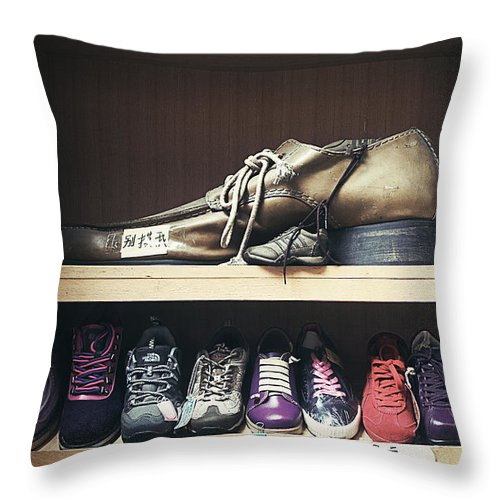 Shoes Throw Pillow featuring the photograph Colorful Shoes by Javier Gomez