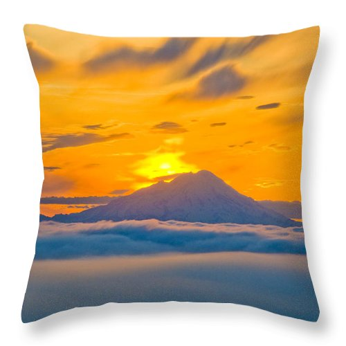 Sunset Throw Pillow featuring the photograph Colorful Sunset Behind Mt. Redoubt And by Bill Scott
