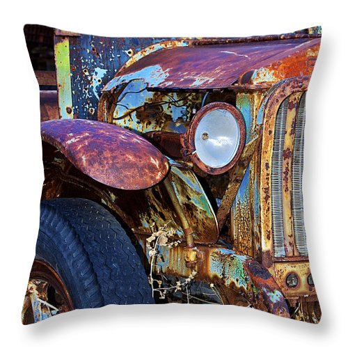 Car Throw Pillow featuring the photograph Colorful Vintage Car by Phyllis Denton