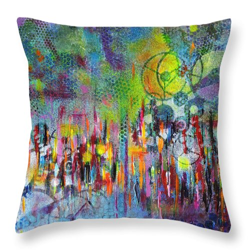 Colorful Throw Pillow featuring the painting Colorgear by Sara Miller