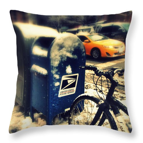 Winter Throw Pillow featuring the photograph Colors In Snow by Miriam Danar