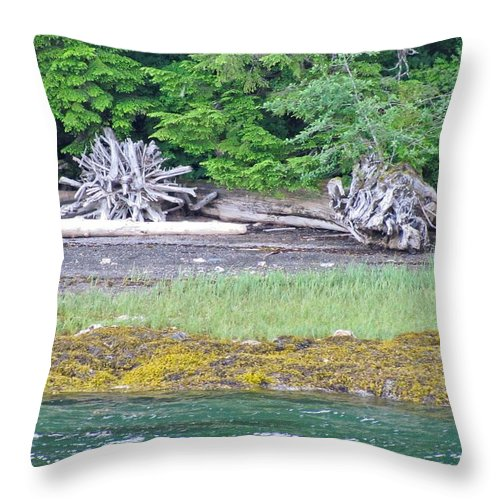 Landscape Throw Pillow featuring the photograph Colors Of Alaska - Layers Of Greens by Natalie Rotman Cote