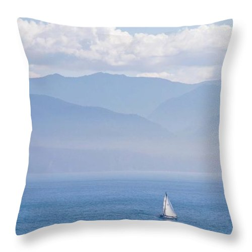 Sailboat Throw Pillow featuring the photograph Colors Of Alaska - Sailboat And Blue by Natalie Rotman Cote