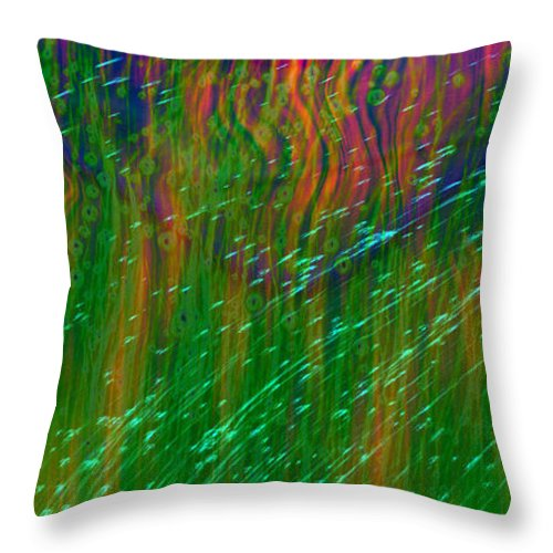 Abstract Throw Pillow featuring the digital art Colors Of Grass by Linda Sannuti