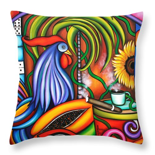 Cuba Throw Pillow featuring the painting Colors Of My World by Annie Maxwell