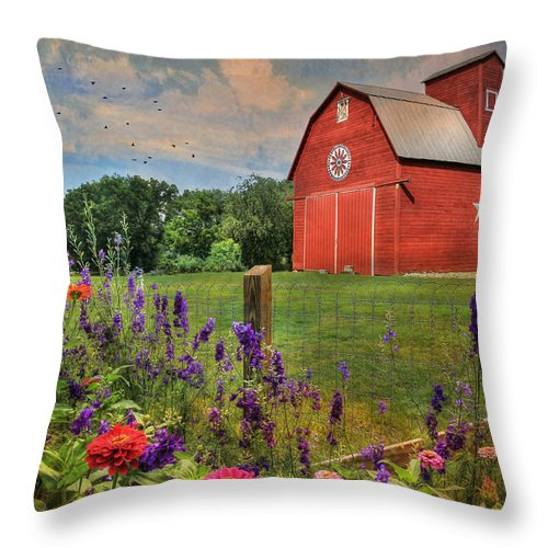 Red Barn Throw Pillow featuring the photograph Colors Of Summer by Lori Deiter
