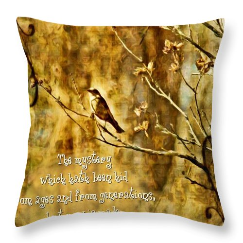 Jesus Throw Pillow featuring the digital art Colossians 1 26 by Michelle Greene Wheeler