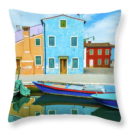 Tranquility Throw Pillow featuring the photograph Colourful Burano by Federica Gentile