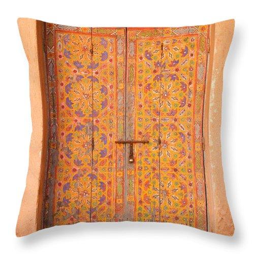 Door Throw Pillow featuring the photograph Colourful Entrance Door Sale Rabat Morocco by Ralph A Ledergerber-Photography